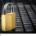 Closed golden padlock on a black keyboard
